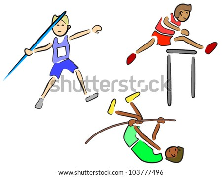 Athletes (Track and Field) - Javelin, Hurdles and Pole Vault - stock vector