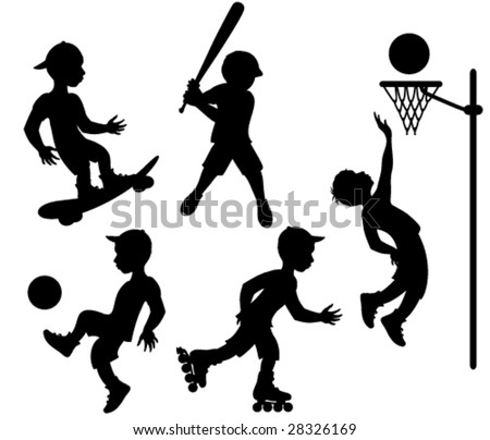 Athletes. Vector silhouettes - stock vector