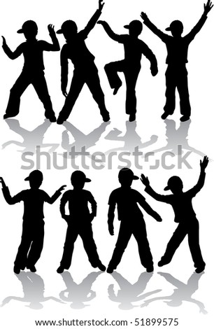 athletic group of boys - stock vector