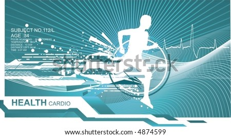 athletic man silhouette running on abstract futuristic background,vector - stock vector