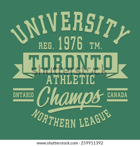 Athletic sport Toronto typography, t-shirt graphics, vectors  - stock vector