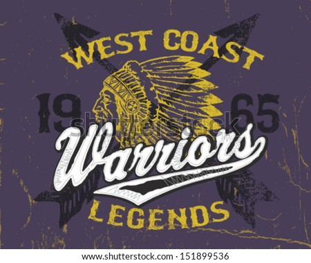 Athletic Style Warriors Apparel Design - stock vector