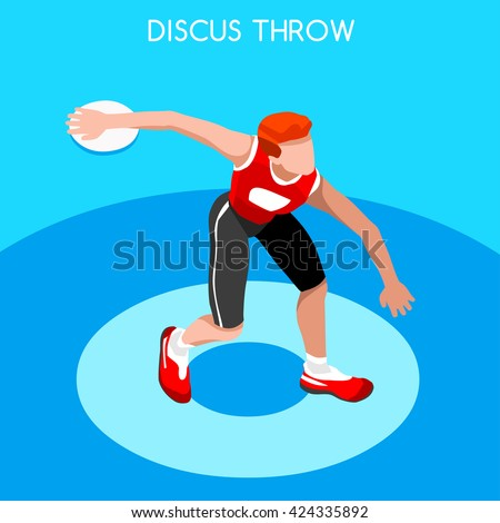 Athletics Discus Throw 2016 Summer Games Icon Set.3D Isometric Athlete.Sporting Championship International Competition.Sport Infographic Discus Throw Athletics olympics Vector Illustration. - stock vector