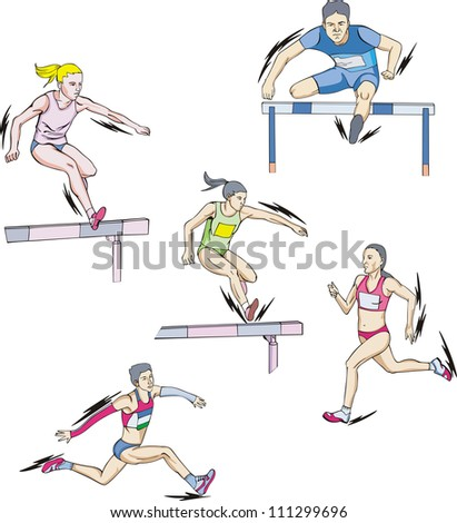 Athletics: Race and Hurdling. Set of color vector illustrations. - stock vector