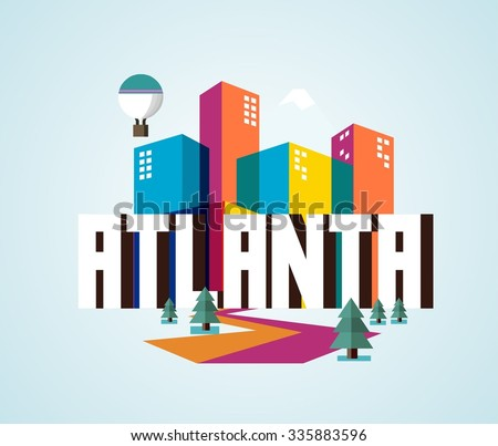 Atlanta city logo in colorful vector - stock vector