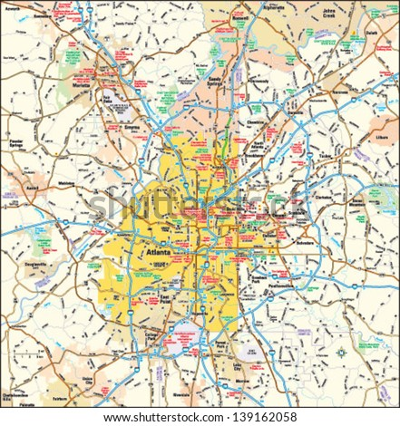 Atlanta Georgia Area Map Stock Vector 139162058 Shutterstock