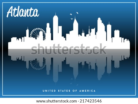 Atlanta, USA skyline silhouette vector design on parliament blue background. - stock vector