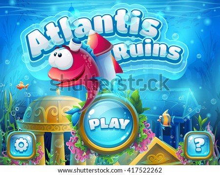 Atlantis ruins with fish rocket - vector illustration boot screen to the computer game. Bright background image to create original video or web games, graphic design, screen savers. - stock vector
