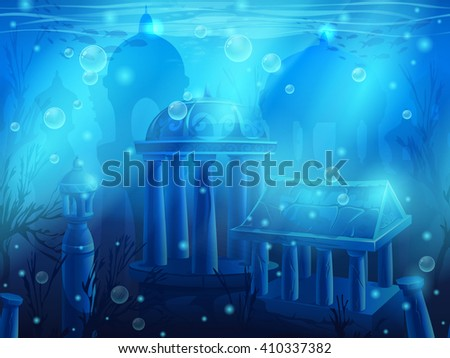 Atlantis. Seamless submerged underwater city, the ancient ruins of eastern. For newspapers, magazines, web design, websites, printing, video or web game. - stock vector