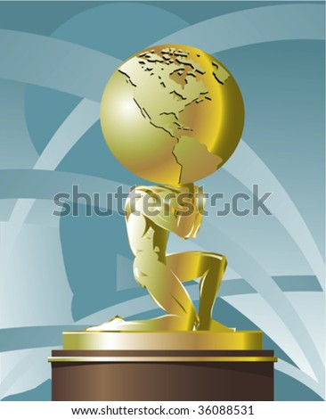 Atlas supporting the World - stock vector