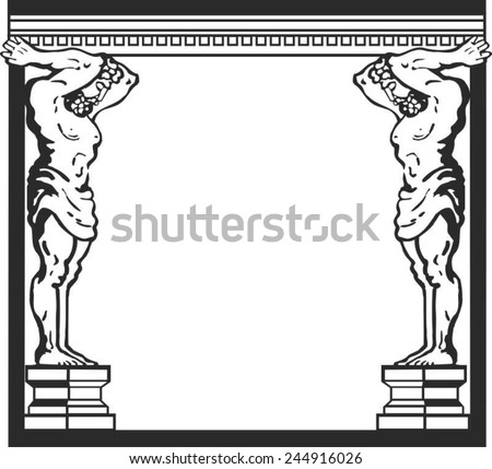 Atlas - the hero of Greek  myths. Image of two strong men. Athletes standing and holding the roof or ceiling.