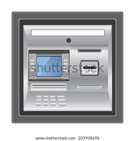 ATM isolated on white photo-realistic - stock vector