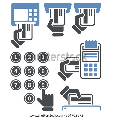 ATM keypad and POS-Terminal - credit card payment icons