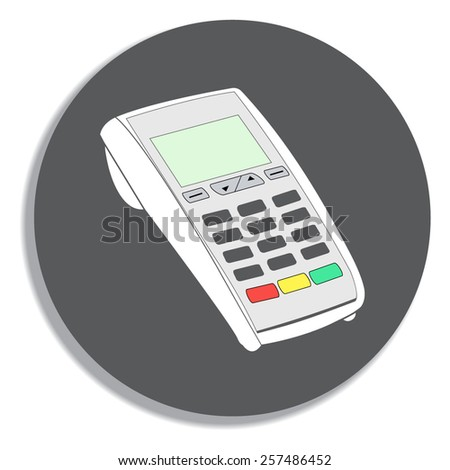 ATM keypad and POS-Terminal - simple icons on a grey background - stock vector