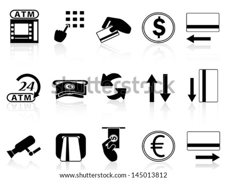 atm machine and credit card icons set - stock vector