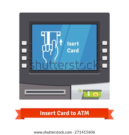 ATM teller machine with current operation icon on the screen. Hand inserting credit card pictogram. Flat style vector illustration. - stock vector