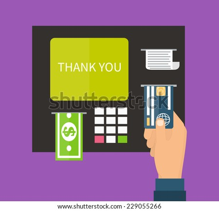 ATM terminal and credit card, cash, bank service. Flat design vector. - stock vector