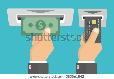 ATM terminal usage concept. Hand pushing credit card in to the atm machine slot and getting money bill from it. Flat design - stock vector