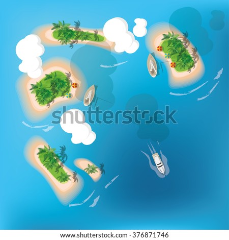 Atoll. Tropical island. View from the top. Vector illustration. - stock vector