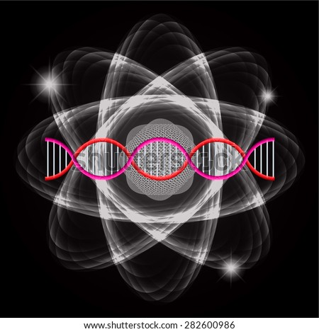 Atom black abstract nuclear structure science background. symbol vector illustration. red pink DNA - stock vector