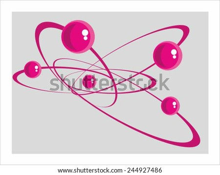 Atom, electron. Abstract graphic image.  Purple balloons, gray background. - stock vector
