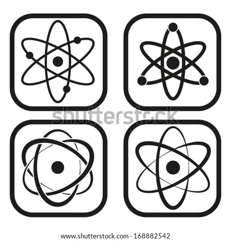 Atom icon - four variations - stock vector