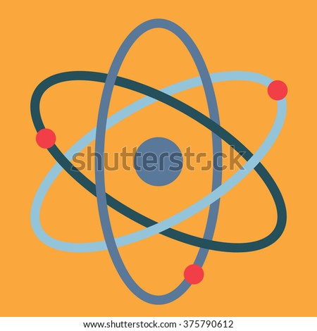 atom in flat design - stock vector