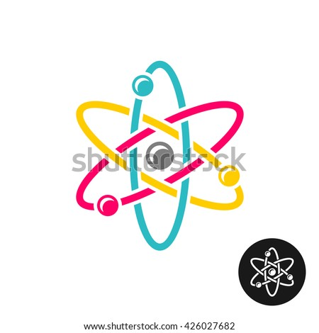 Atom logo. Colorful physics science concept symbol. - stock vector