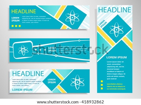 Atom molecule  icon on vertical and horizontal banner. Modern abstract flyer, banner design template.  - stock vector