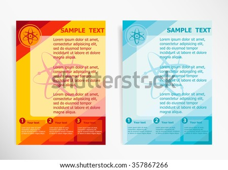 Atom molecule on abstract vector modern flyer, brochure vector template - stock vector