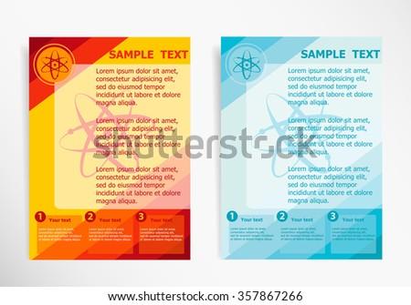 Atom molecule on abstract vector modern flyer, brochure vector template - stock vector