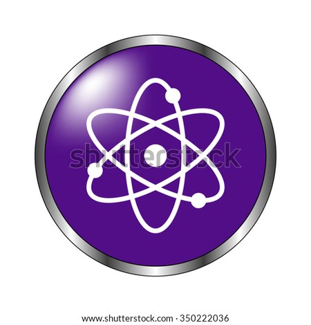 atom - vector icon; violet button