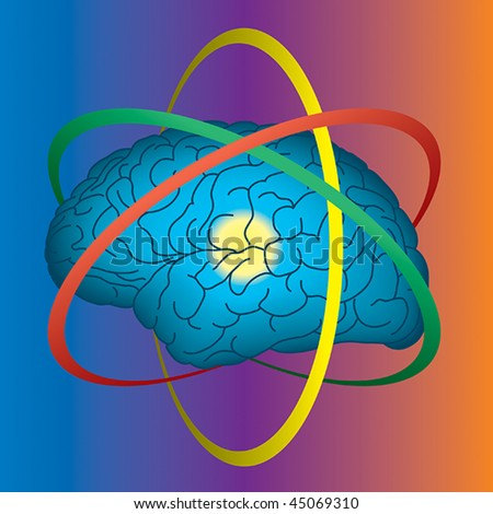 Atomic brain, science and intellect concept - stock vector