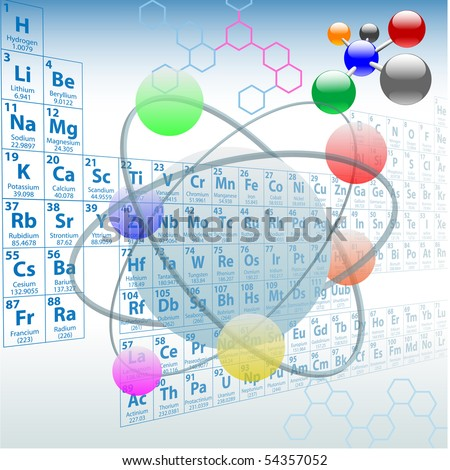 Atomic elements periodic table atoms molecules chemistry design. - stock vector