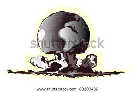 atomic mushroom in form of earth - stock vector