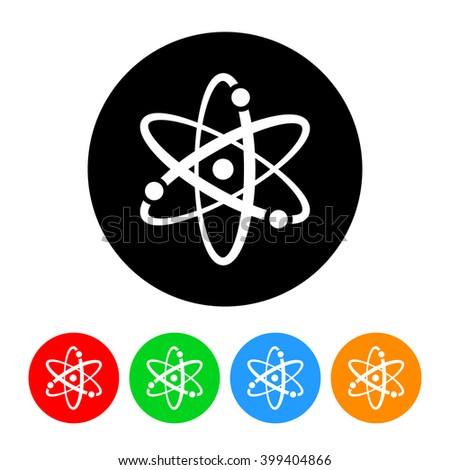 Atomic Science Icon Vector with Four Color Variations - stock vector