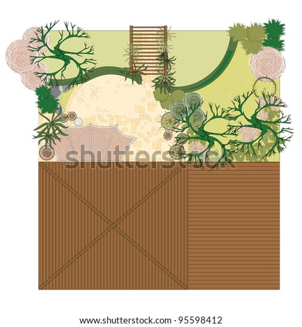 Atrium. Project patio. The plan area for recreation. - stock vector