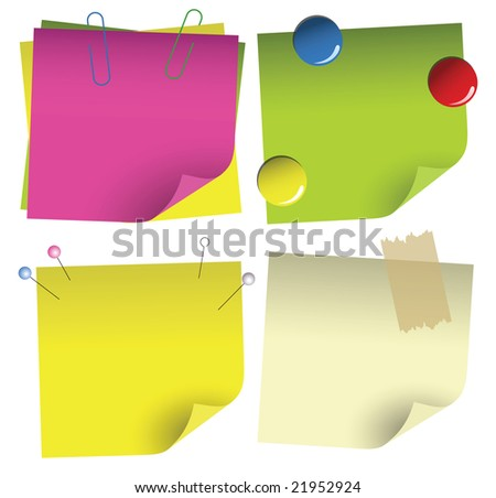Attached colorful empty blanks with different accessories. - stock vector