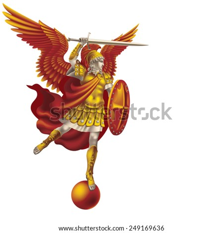 Attacking colorful angel with a sword on a white background - stock vector