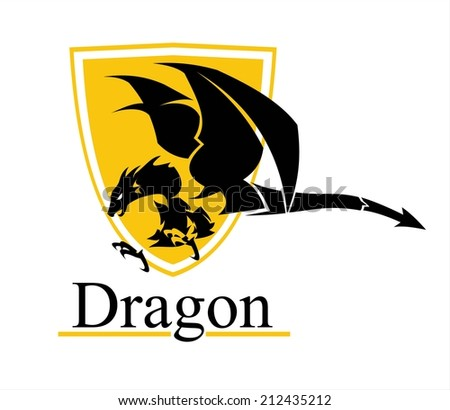 Attacking Dragon with the shield, Symbolizing the power, protection, dignity, etc. Suitable for team Mascot , team icon, community identity, product identity, illustration for apparel, clothing, etc.  - stock vector
