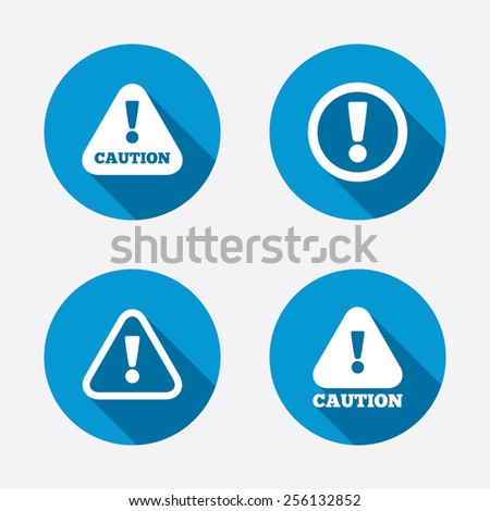 Attention caution icons. Hazard warning symbols. Exclamation sign. Circle concept web buttons. Vector - stock vector