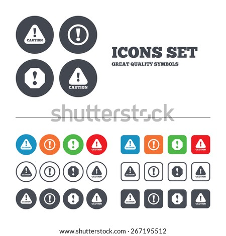 Attention caution icons. Hazard warning symbols. Exclamation sign. Web buttons set. Circles and squares templates. Vector - stock vector