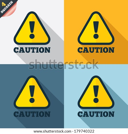Attention caution sign icon. Exclamation mark. Hazard warning symbol. Four squares. Colored Flat design buttons. Vector - stock vector