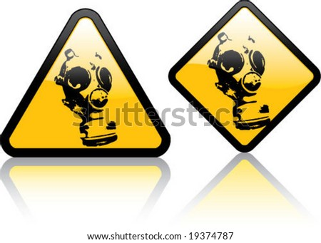 Attention Gas Mask Zone - stock vector