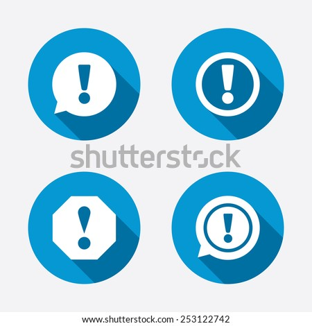 Attention icons. Exclamation speech bubble symbols. Caution signs. Circle concept web buttons. Vector - stock vector