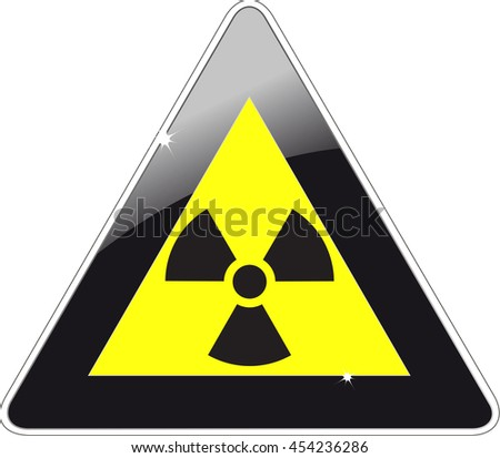 Attention road sign with a radioactive symbol