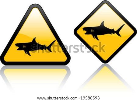 Attention Shark - stock vector