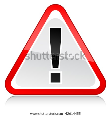 Attention sign with reflection on a white background - stock vector