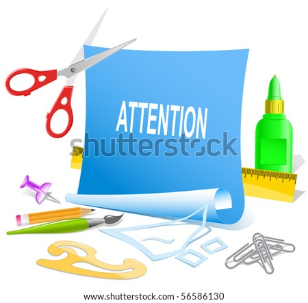 Attention. Vector paper template.