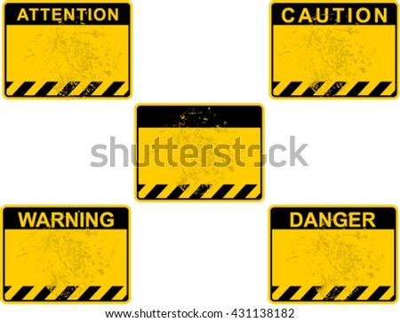 attention, warning, danger, caution - stock vector